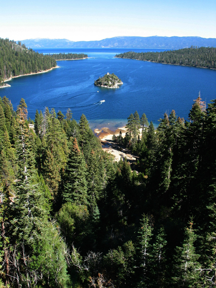 View of entire Emerald Bay with Trees.