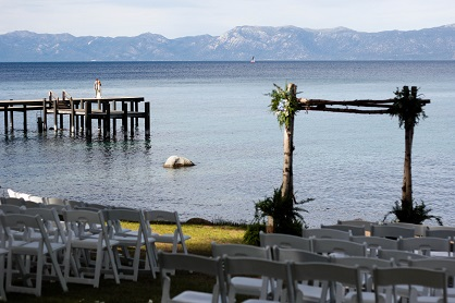 Ceremony Site with Party on Pier
