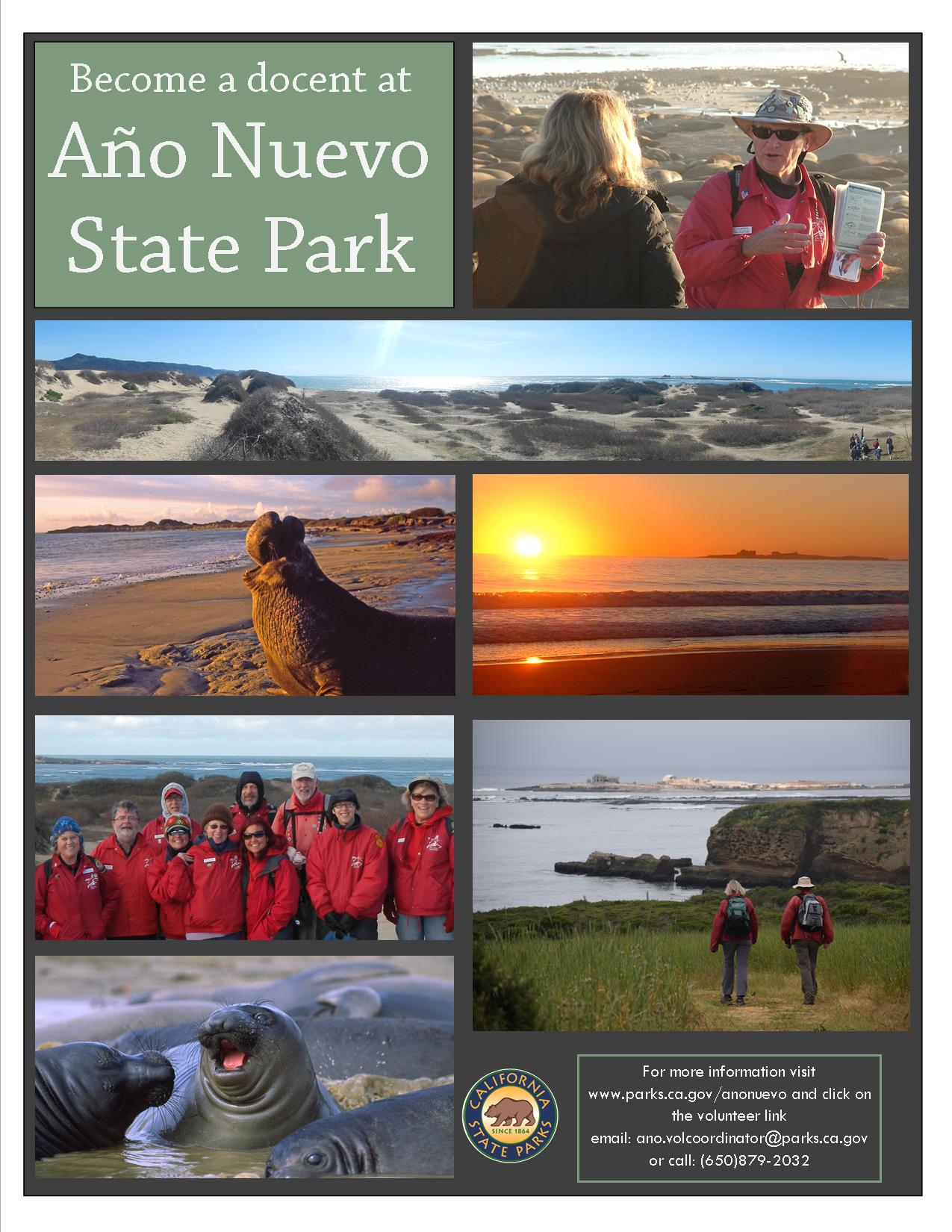 Año Nuevo State Park is seeking enthusiastic nature lovers and avid hikers  to become docent naturalist volunteers. After attending a comprehensive  training, ...