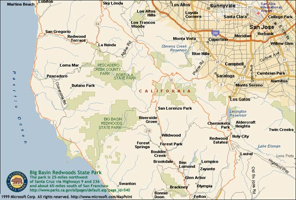 Big Basin Redwoods SP Location Map - Large