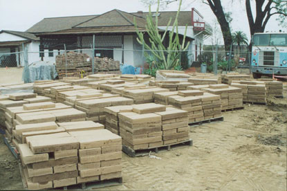 The adobe blocks are now being used to build adobe corrals, of the type in the mid to late 19th century.