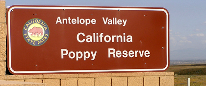 Sign at Antelope Valley California Poppy Reserve SR