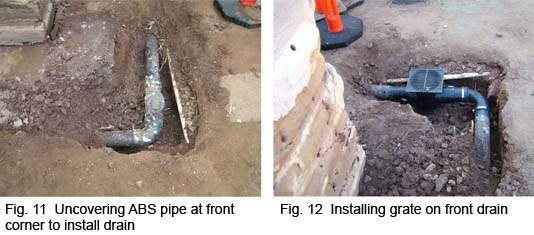 Uncovered ABS pipe and installing drain