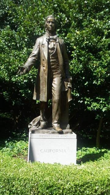The statue of Thomas Starr King, one of the most powerful orators of his time, and a leader in the Union cause in California.