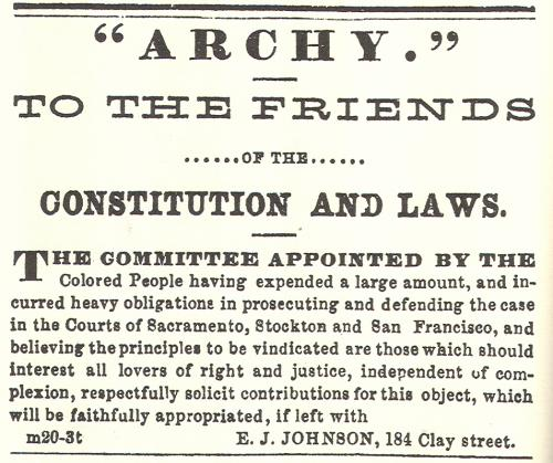 Black Californian organized to fight for Archy Lee's liberty, and consequentially their own.