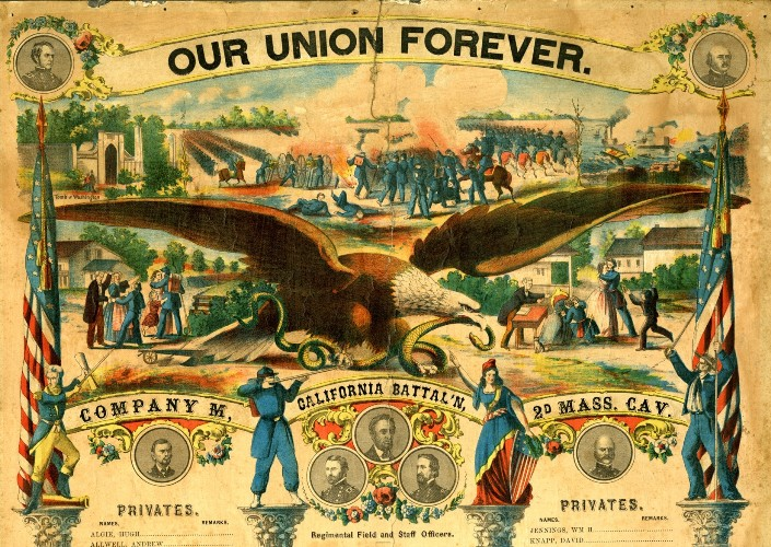 Union propaganda, like this poster, helped to make the Union cause the popular one.