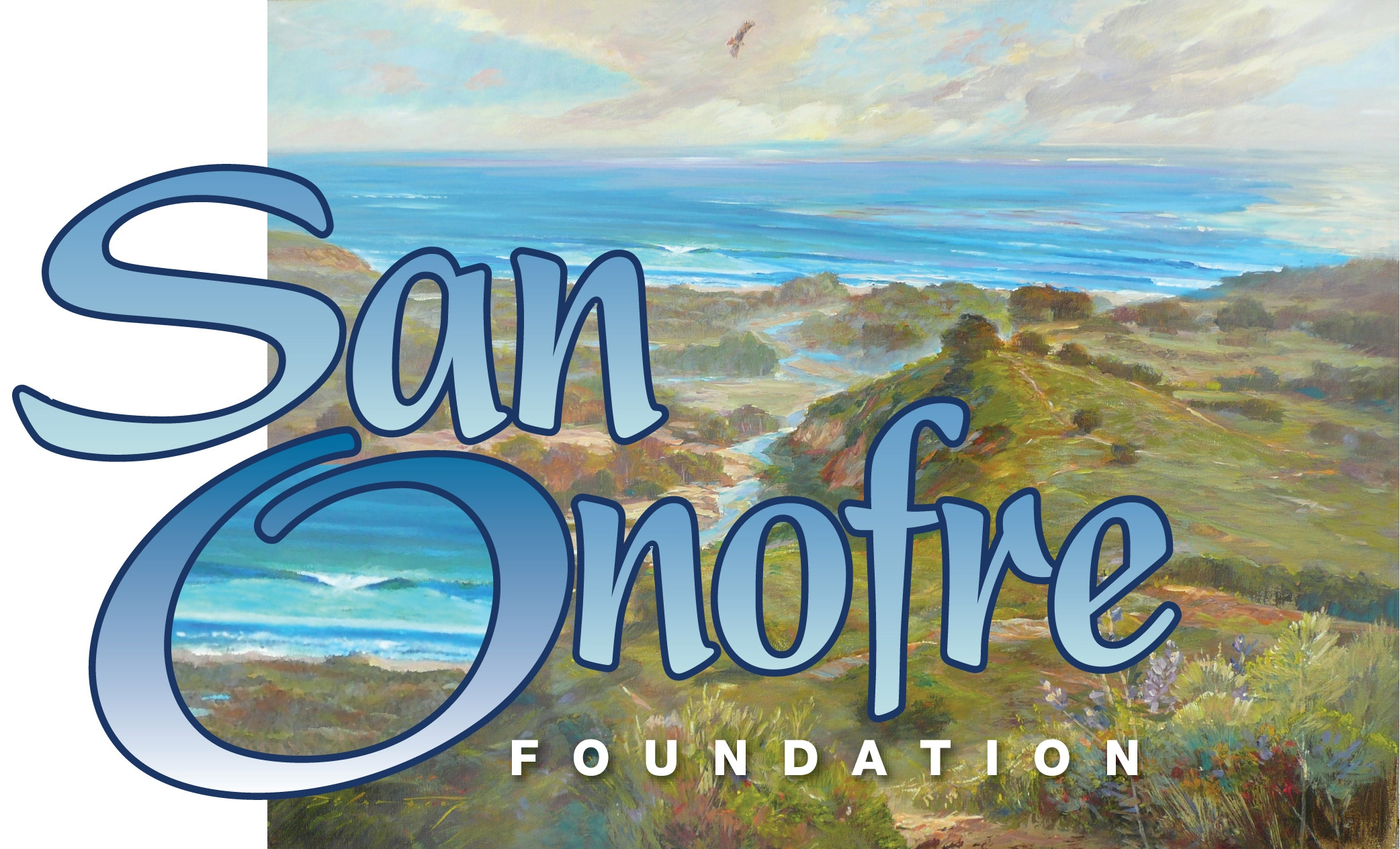 Coastal bluffs and ocean beach with words San Onofre Foundation
