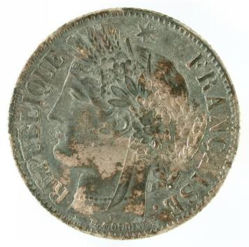 One-piece franc recovered from Cooper-Molera is from France, dated to 1849