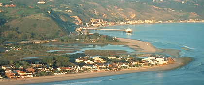 Malibu Pier in seen extending out into the middle of Malibu Lagoon