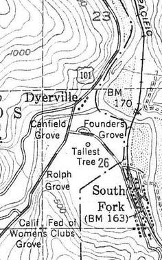 1955 map of Dyerville area