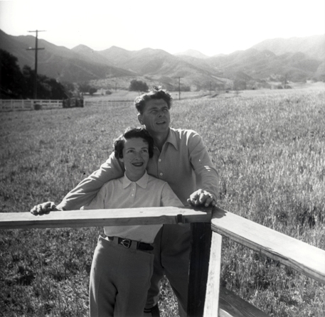 Ronald Reagan and Nancy at the Reagan's Malibu Ranch in 1958. Photo Courtesy of the Reagan Family. Copyrighted Image.