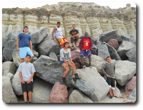 Hawaiian Garden Group on Rocks