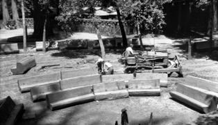 CCC crew members working on Outdoor Theatre seating at Big Basin in 1935
