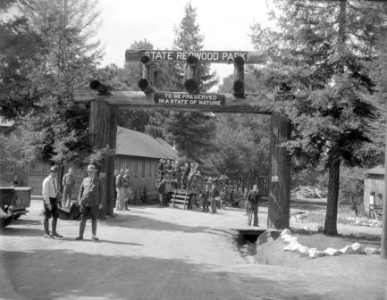 California State Redwood Park in 1936. Renamed Big Basin Redwoods State Park, it is California's oldest state park.