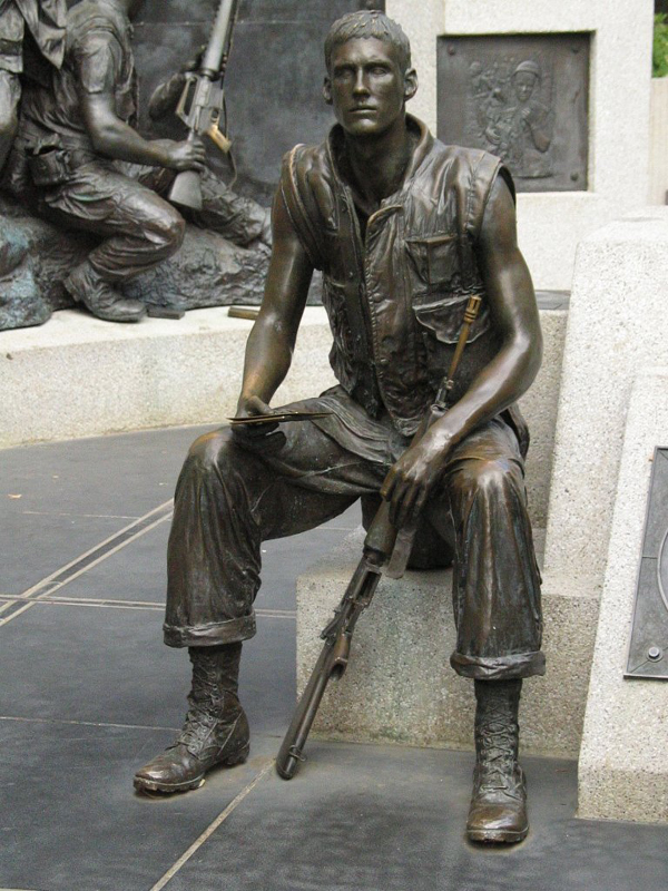 Statue of soldier from Vietnam memorial in Capitol Park.