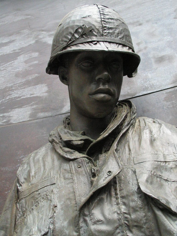 Detail of Statue of soldier from Vietnam memorial in Capitol Park.
