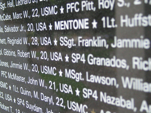 Names of California Soldiers that died in Vietnam.