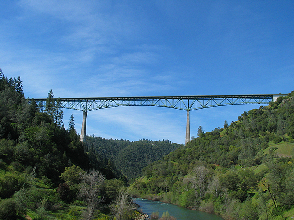 The Foresthill Bridge is 730 feet above the American River's north fork.