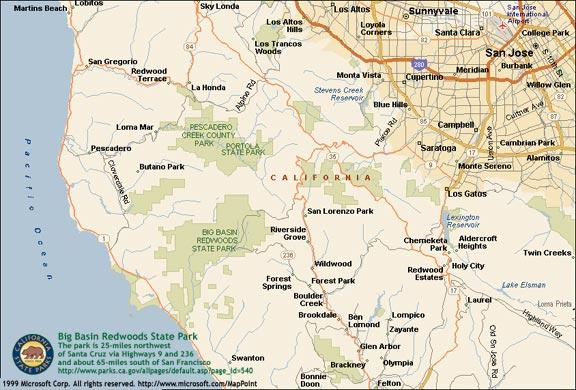Big Basin Redwoods State Park Map Maps