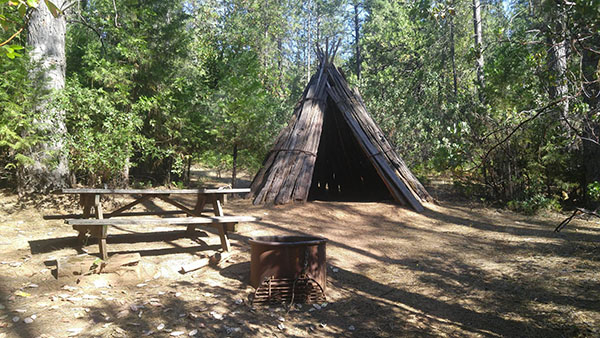 Example of bark house, fire ring, picnic table at Env Camp image