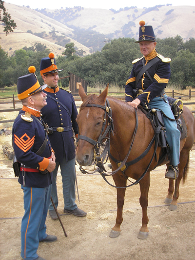 Soldiers and a horse