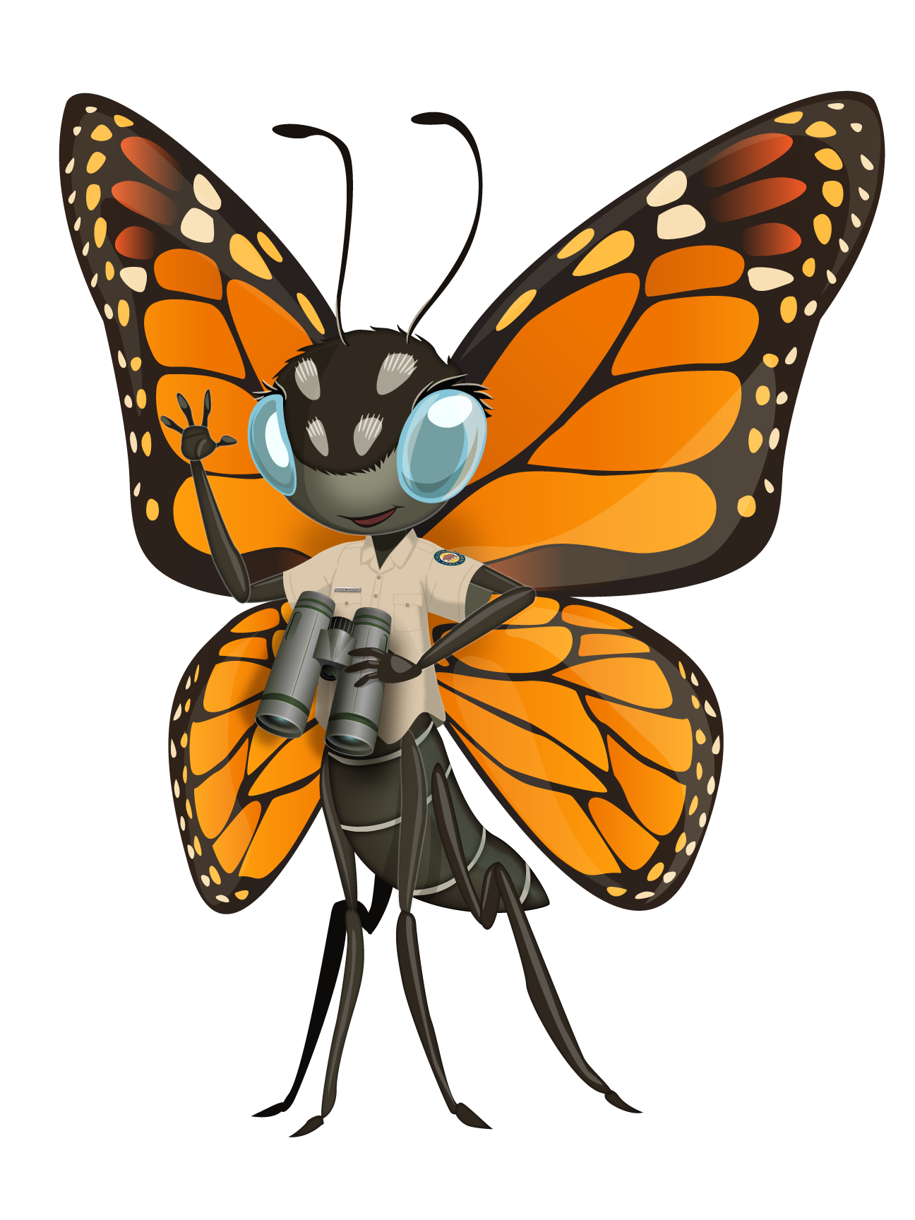Cartoon character orange and black butterfly