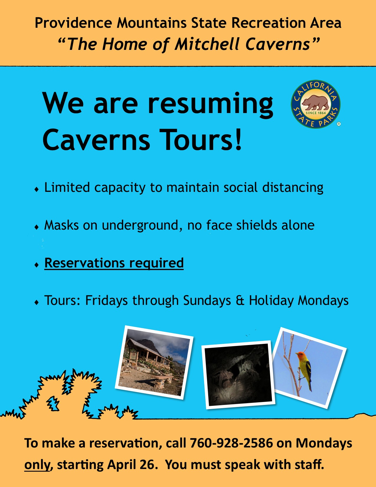 Mitchell Caverns Tours are resuming with limited capacity and masks required underground.
