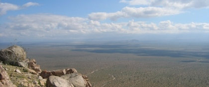 View from the top, looking east over the Mojave Desert