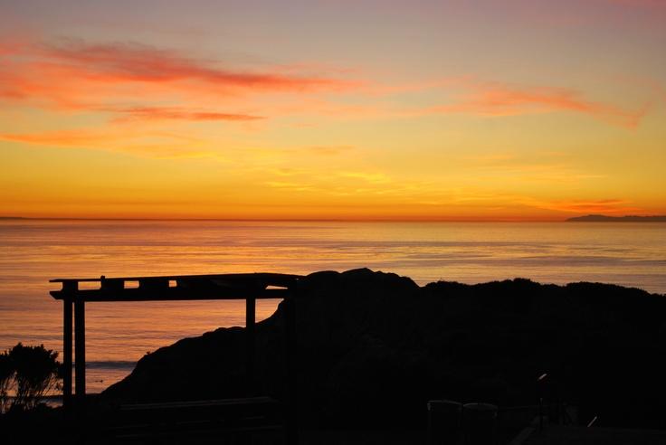 Sunset silhouette beach