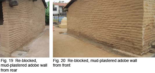 Re-blocked, mud-plastered wall