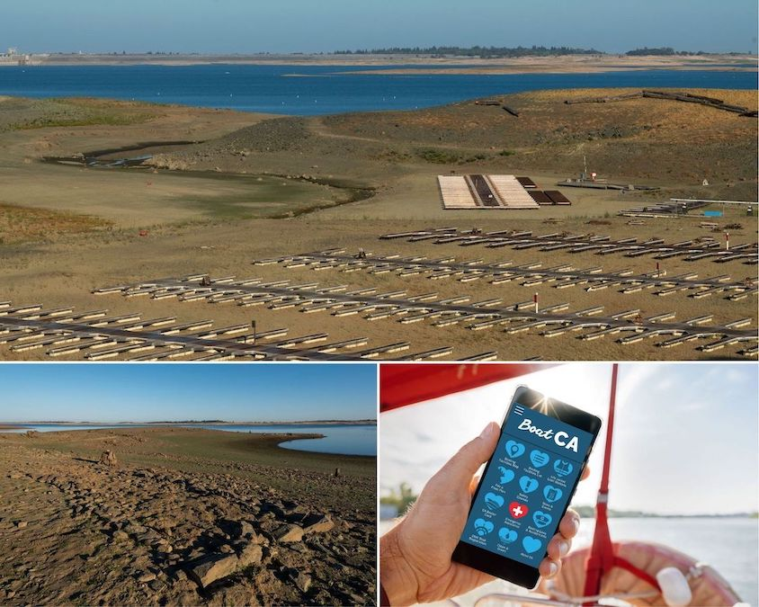 Top and bottom left: Low water levels at Folsom Lake State Recreation Area expose the wet slips and areas normally underwater. Bottom right: Boat CA app. Photos from California State Parks.