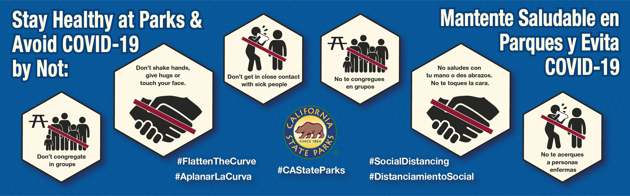 Banner for California State Parks Takes Additional Steps to Help Slow Down Spread of COVID-19: Vehicle Access Temporarily Closed for Additional Parks