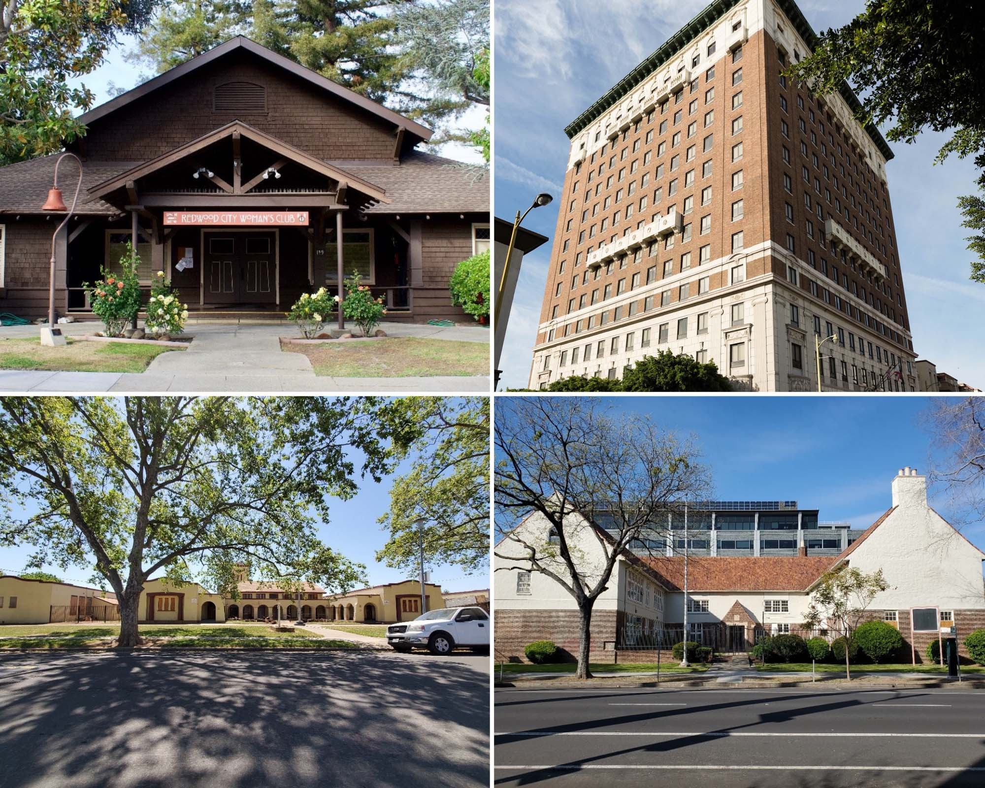 Top left:The Redwood City Woman's Club in San Mateo County. Top right: The Hotel Mayfair in Los Angeles County. Bottom right: North Sacramento School in Sacramento County. Bottom left: Thomas Jefferson School in Sacramento County.