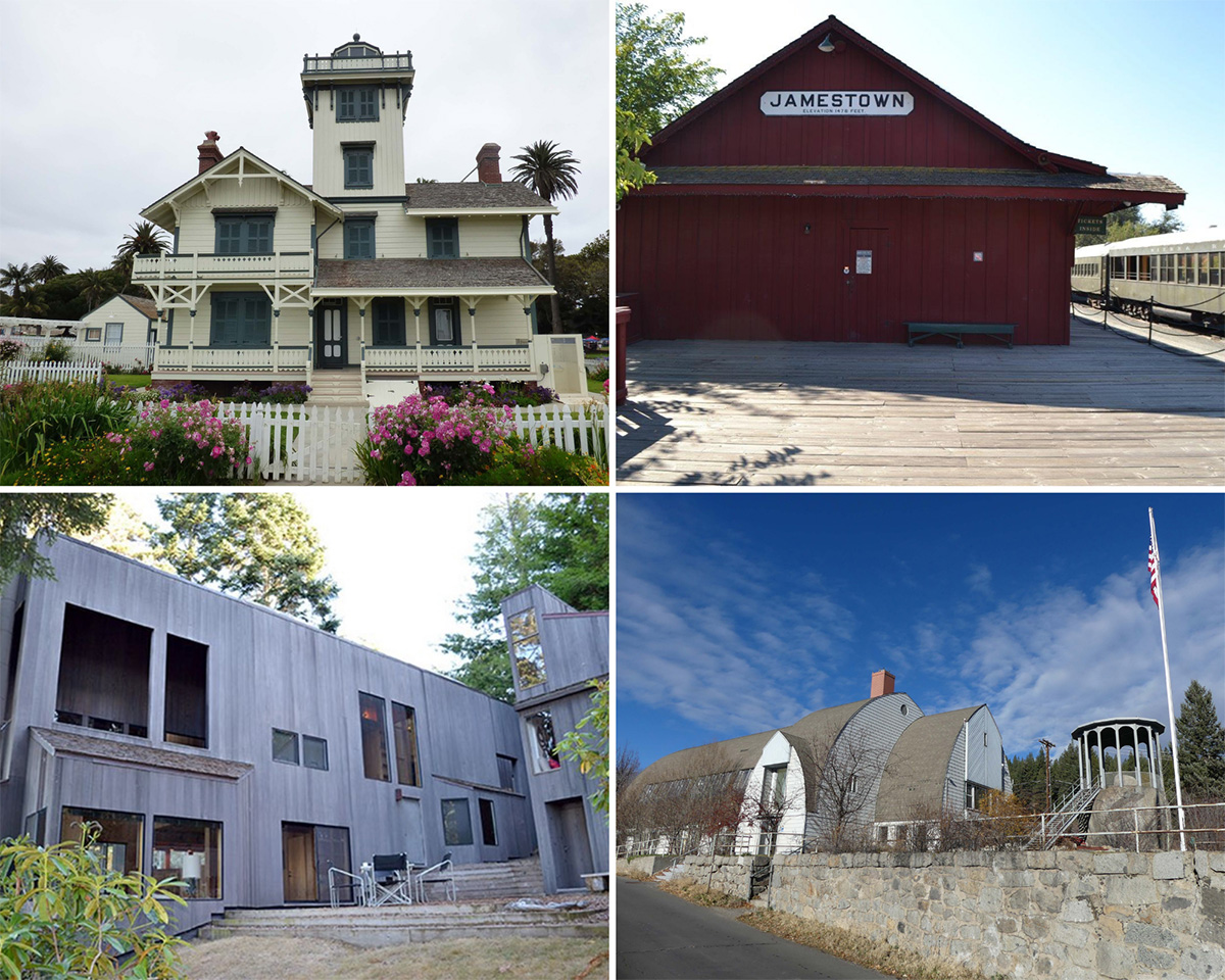 Top left: The Point Fermin Light Station Historical District in Los Angeles County. Top right: The Sierra Railway Shops in Tuolumne County. Bottom left: The Hines House in Sonoma County. Bottom right: Truckee Veterans Memorial Buildings in Nevada County.