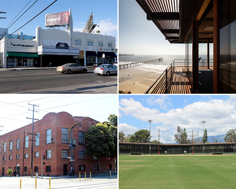 Top: The Fairfax Theatre in Los Angeles (left), the Institute of Geophysics and Planetary Physics Munk Laboratory in La Jolla. Bottom: The Alberta Candy Factory in San Francisco (left), the Ontario Baseball Park in Ontario.