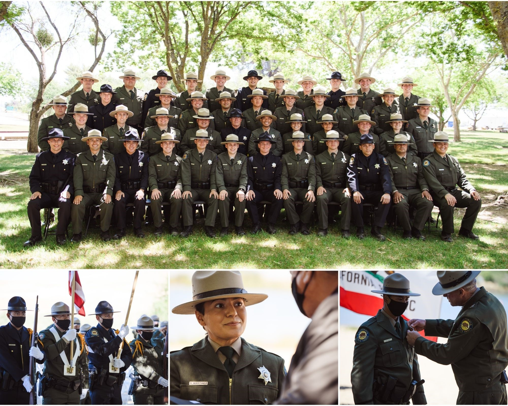 Basic Visitor Services Training (BVST) 45 Cadet Academy graduation at Lake Oroville State Recreation Area on May 19, 2021. Pictured individuals have all been vaccinated for COVID-19.  Photos from California State Parks.