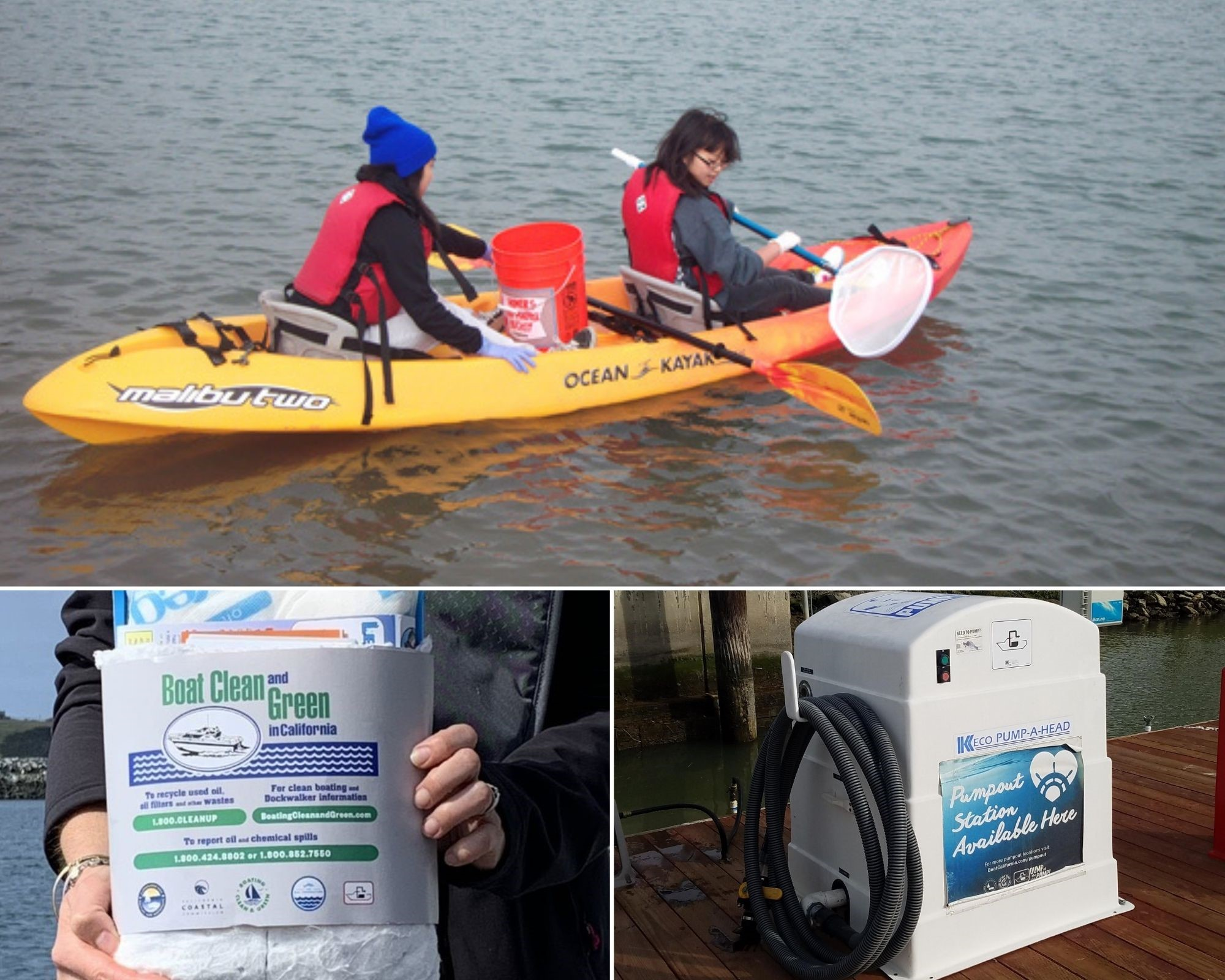 Top: Volunteers clean up along Pier 39 in San Francisco. Bottom left: Free California Boater Kit. Bottom right: Sewage pumpout station in at Vallejo Municipal Marina. Photos from Boating Clean and Green Program and San Francisco Estuary Partnership.