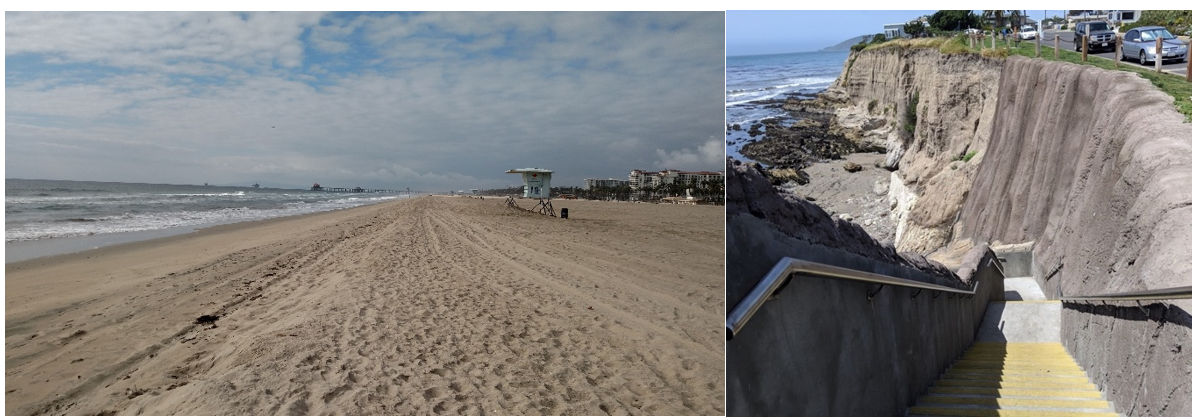 Left: Restored beach in City of Huntington Beach. Right: Completed erosion control structure in City of Pismo Beach.