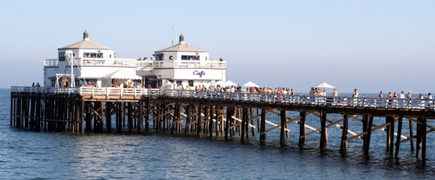The Malibu Pier is a historic landmark on the Southern California coast.